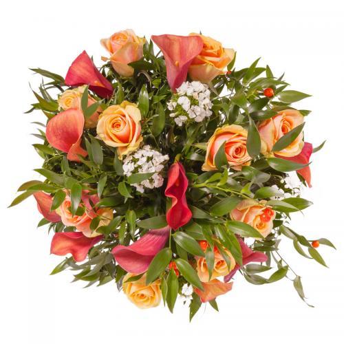 Orange Roses n Calla Lily Bouquet